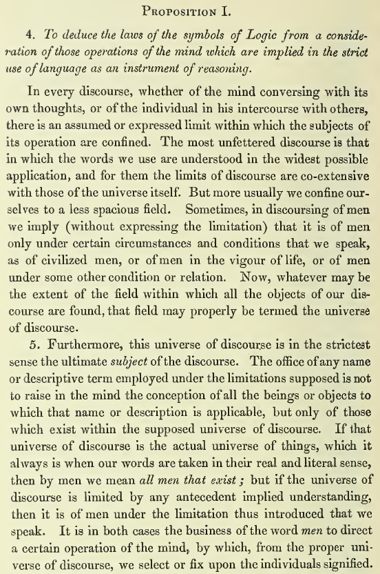 Boole 1854 Universe of Discourse p42.png